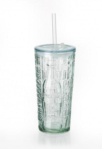 Set pahare cu pai si capac Coca Cola Fizz, To Go, 530 ml, 6 piese