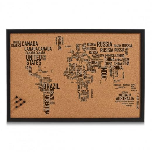 Panou din pluta cu rama de lemn, Pin Board World Letters Negru, L60xl40 cm