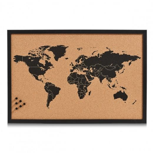 Panou din pluta cu rama de lemn, Pin Board Worldmap Negru, L60xl40 cm