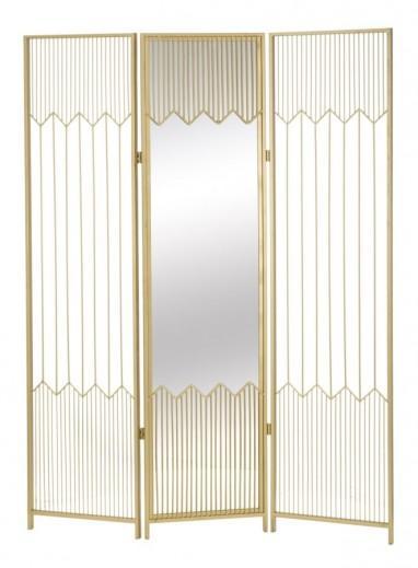 "Paravan metalic cu oglinda ""Lille"" Gold, l120xA2,5xH165 cm"