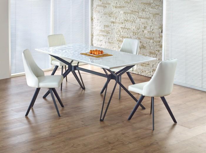 Set masa din MDF si metal Pascal White / Black + 4 scaune K206 White / Black, L160xl90xH76 cm