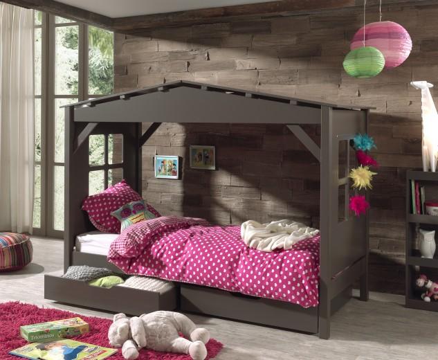 Pat din lemn de pin si MDF cu 2 sertare, pentru copii tip casuta Pino House Grej, 200 x 90 cm