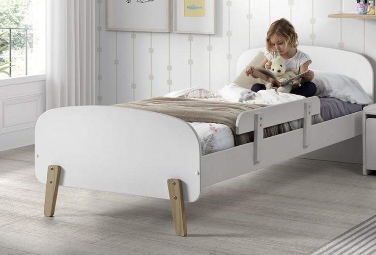 Pat din lemn de pin si MDF cu protectie, pentru copii Kiddy Alb, 200 x 90 cm