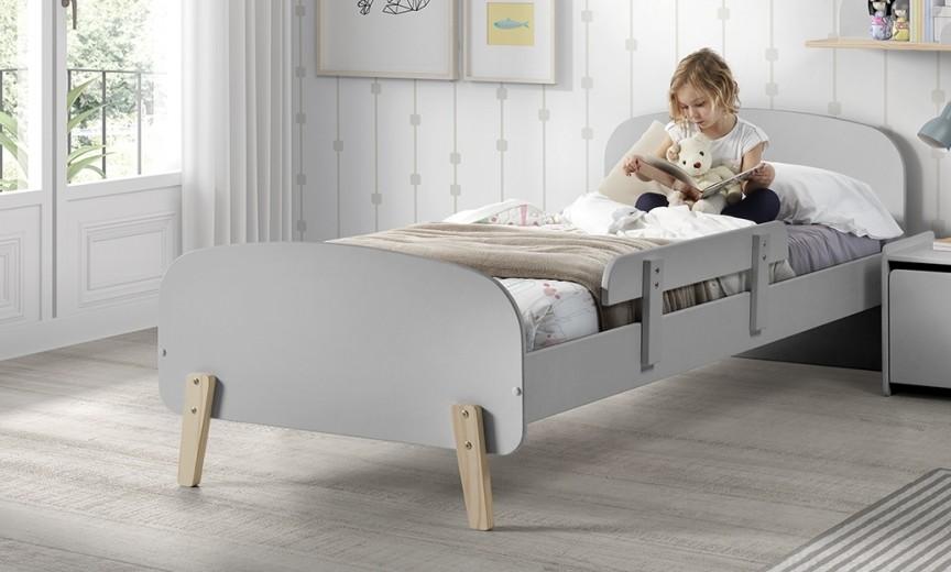 Pat din lemn de pin si MDF cu protectie, pentru copii Kiddy Gri, 200 x 90 cm