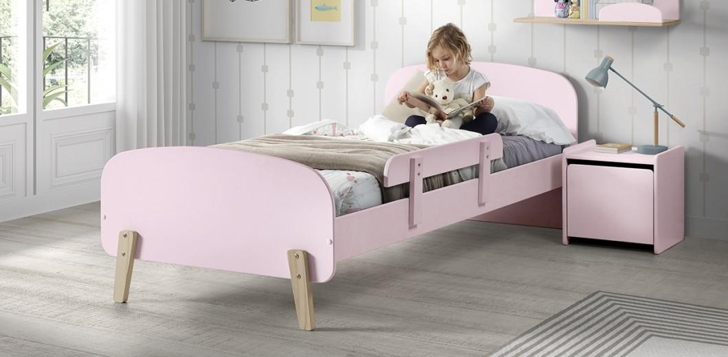 Pat din lemn de pin si MDF cu protectie, pentru copii Kiddy Roz, 200 x 90 cm
