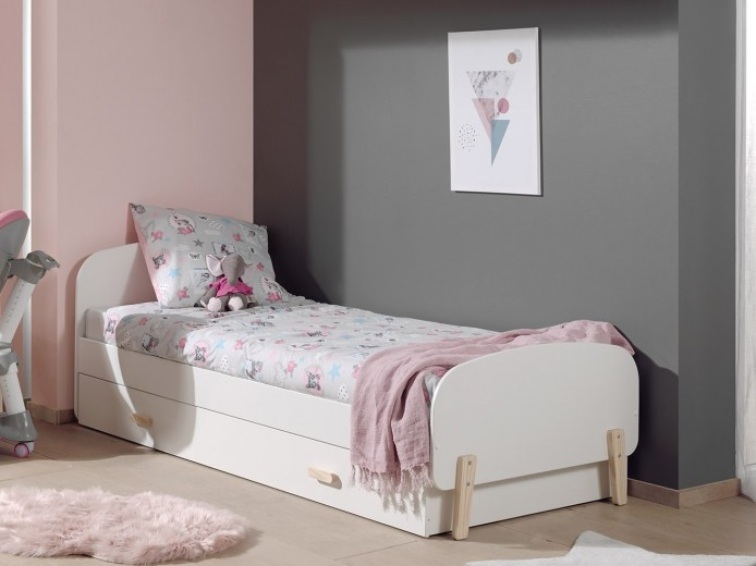 Pat din lemn de pin si MDF cu sertar, pentru copii Kiddy Alb, 200 x 90 cm