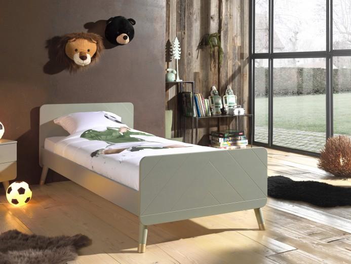Pat din lemn de pin si MDF pentru copii Billy Verde Olive, 200 x 90 cm