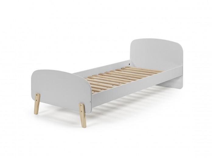 Pat din lemn de pin si MDF pentru copii Kiddy Gri, 200 x 90 cm