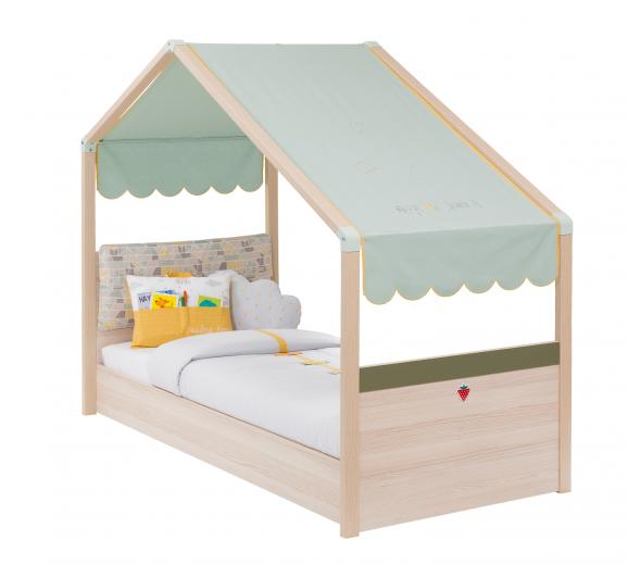 Pat din pal pentru copii Montessori Natural / Verde, 180 x 80 cm