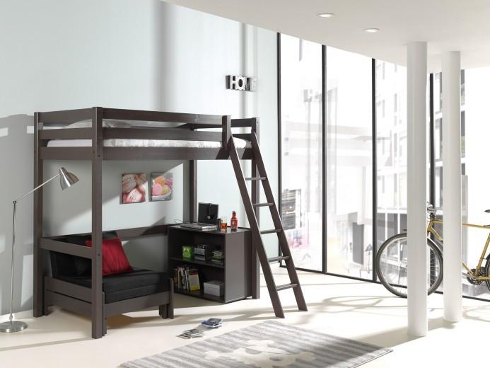 Pat etajat din lemn de pin, cu fotoliu extensibil si biblioteca, pentru copii Pino Mezzanine II Grej, 200 x 90 cm