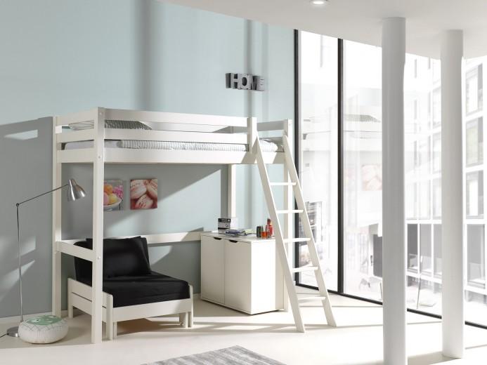 Pat etajat din lemn de pin, cu fotoliu extensibil si cabinet, pentru copii Pino Mezzanine II Alb, 200 x 90 cm