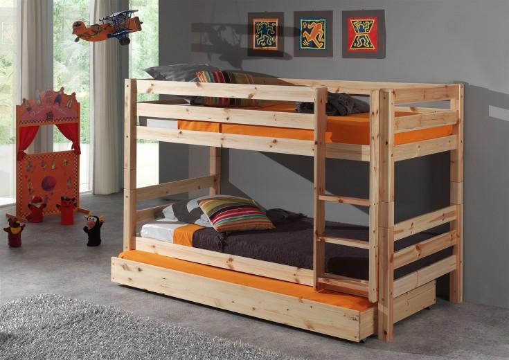 Pat etajat din lemn de pin cu sertar, pentru copii Pino Small Natural, 200 x 90 cm