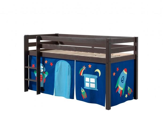 Pat etajat din lemn de pin, cu spatiu de joaca pentru copii Pino Astro Grej, 200 x 90 cm