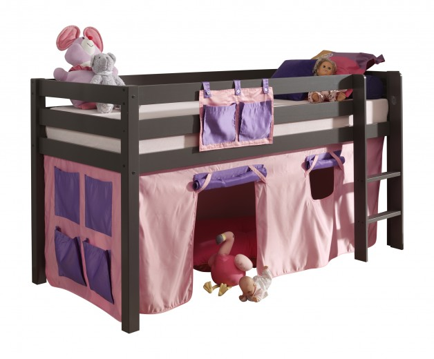 Pat etajat din lemn de pin, cu spatiu de joaca pentru copii Pino Bella Pink Grej, 200 x 90 cm