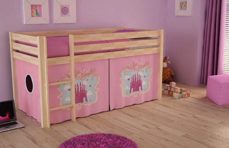 Pat etajat din lemn de pin, cu spatiu de joaca pentru copii Pino Castle Natural, 200 x 90 cm