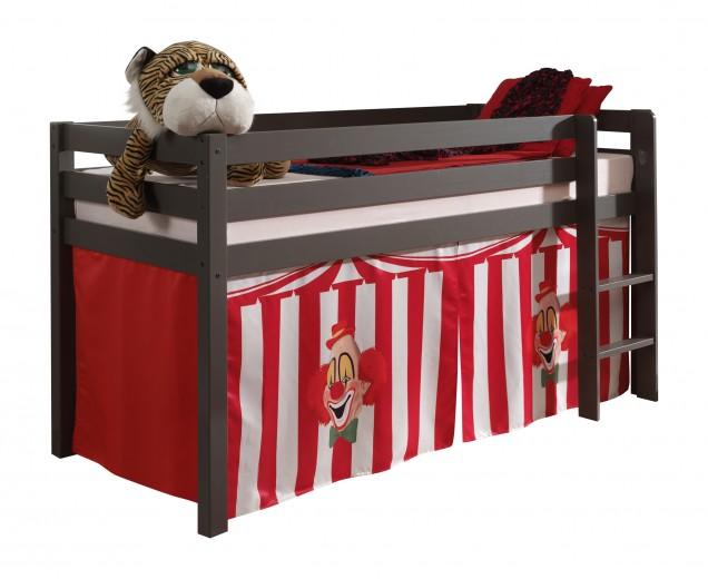 Pat etajat din lemn de pin, cu spatiu de joaca pentru copii Pino Chucky Grej, 200 x 90 cm