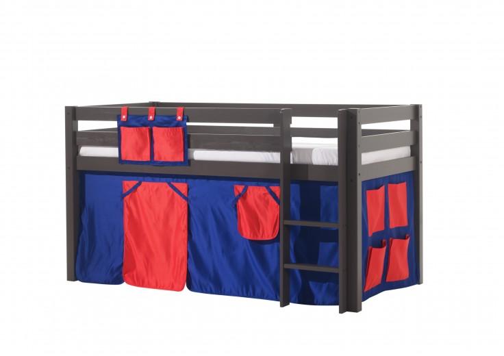 Pat etajat din lemn de pin, cu spatiu de joaca pentru copii Pino Domino Grej, 200 x 90 cm