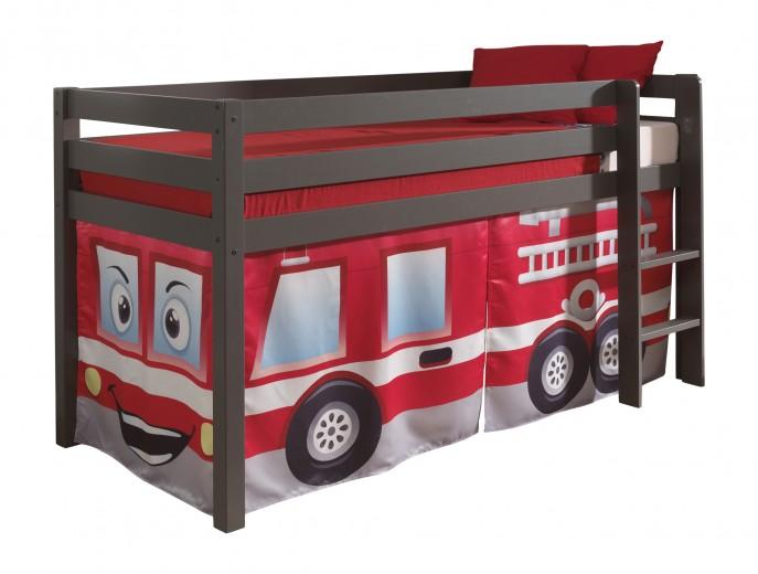 Pat etajat din lemn de pin, cu spatiu de joaca pentru copii Pino Fire Rescue Grej, 200 x 90 cm