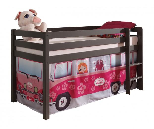 Pat etajat din lemn de pin, cu spatiu de joaca pentru copii Pino Little Princess Grej, 200 x 90 cm