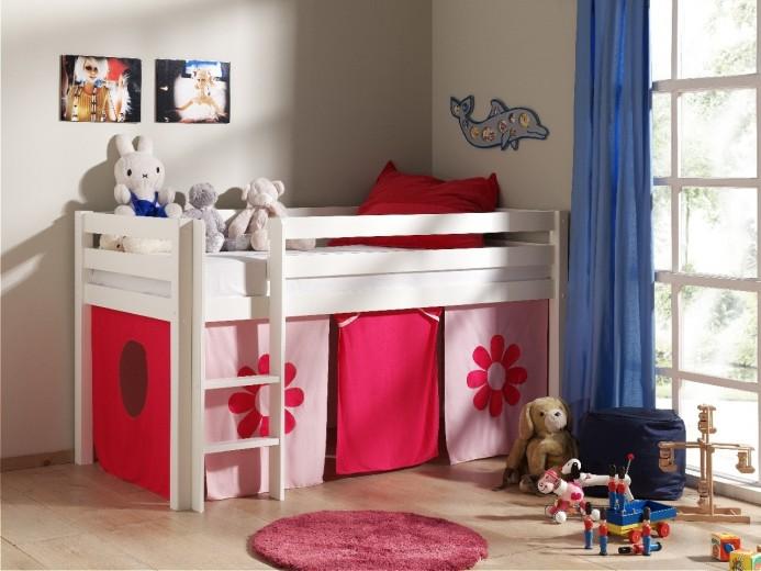 Pat etajat din lemn de pin, cu spatiu de joaca pentru copii Pino Pink Flower Alb, 200 x 90 cm