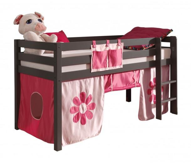 Pat etajat din lemn de pin, cu spatiu de joaca pentru copii Pino Pink Flower Grej, 200 x 90 cm