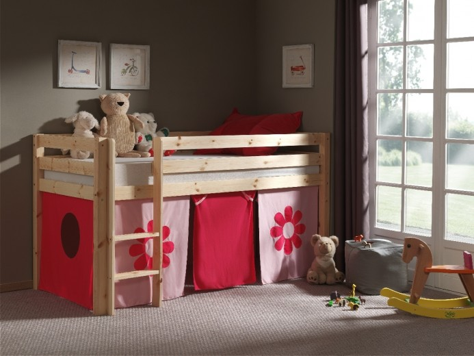 Pat etajat din lemn de pin, cu spatiu de joaca pentru copii Pino Pink Flower Natural, 200 x 90 cm