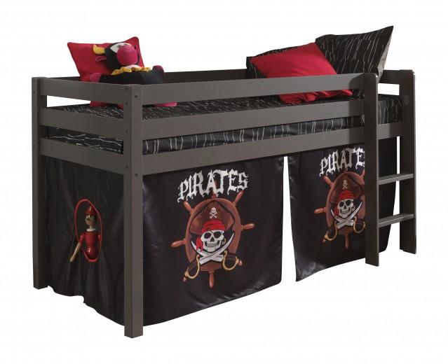 Pat etajat din lemn de pin, cu spatiu de joaca pentru copii Pino Pirates Grej, 200 x 90 cm