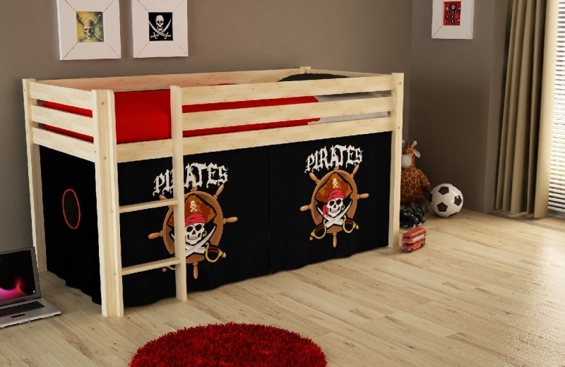 Pat etajat din lemn de pin, cu spatiu de joaca pentru copii Pino Pirates Natural, 200 x 90 cm