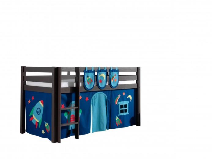 Pat etajat din lemn de pin, cu spatiu de joaca pentru copii Pino Plus Astro Grej, 200 x 90 cm