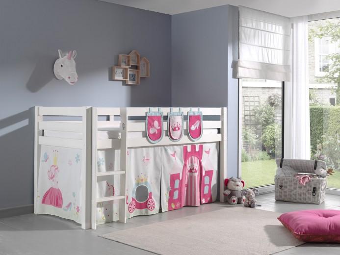 Pat etajat din lemn de pin, cu spatiu de joaca pentru copii Pino Plus Princess Alb, 200 x 90 cm