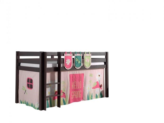 Pat etajat din lemn de pin, cu spatiu de joaca pentru copii Pino Plus Spring Grej, 200 x 90 cm