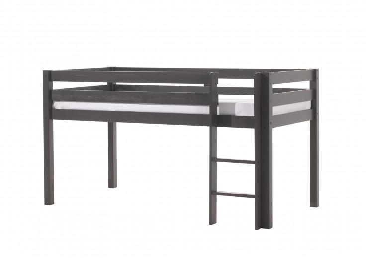 Pat etajat din lemn de pin, cu spatiu de joaca pentru copii Pino Simple Grej, 200 x 90 cm