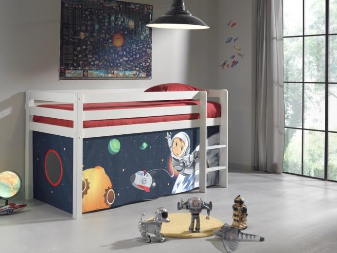 Pat etajat din lemn de pin, cu spatiu de joaca pentru copii Pino Space Alb, 200 x 90 cm