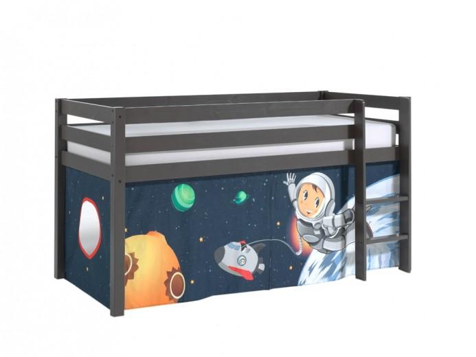 Pat etajat din lemn de pin, cu spatiu de joaca pentru copii Pino Space Grej, 200 x 90 cm