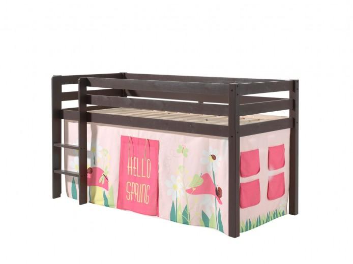 Pat etajat din lemn de pin, cu spatiu de joaca pentru copii Pino Spring Grej, 200 x 90 cm
