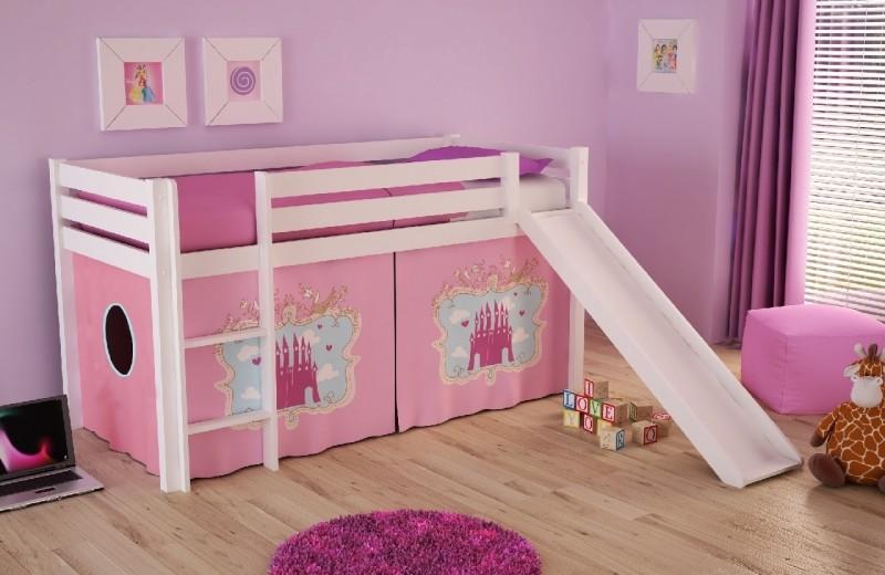 Pat etajat din lemn de pin, cu tobogan pentru copii Pino Castle Alb, 200 x 90 cm