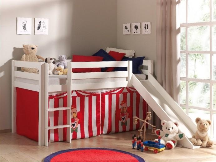 Pat etajat din lemn de pin, cu tobogan pentru copii Pino Chucky Alb, 200 x 90 cm
