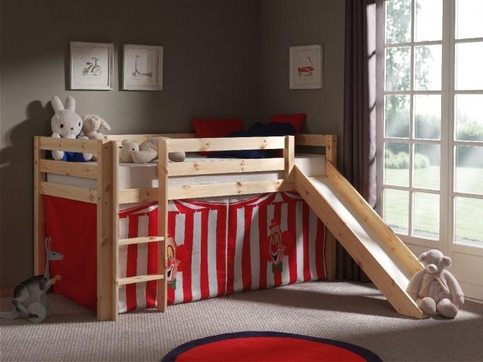 Pat etajat din lemn de pin, cu tobogan pentru copii Pino Chucky Natural, 200 x 90 cm
