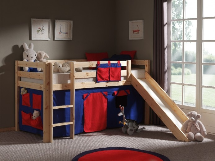 Pat etajat din lemn de pin, cu tobogan pentru copii Pino Domino Natural, 200 x 90 cm