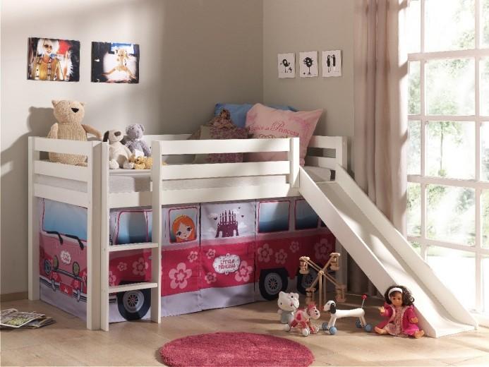 Pat etajat din lemn de pin, cu tobogan pentru copii Pino Little Princess Alb, 200 x 90 cm