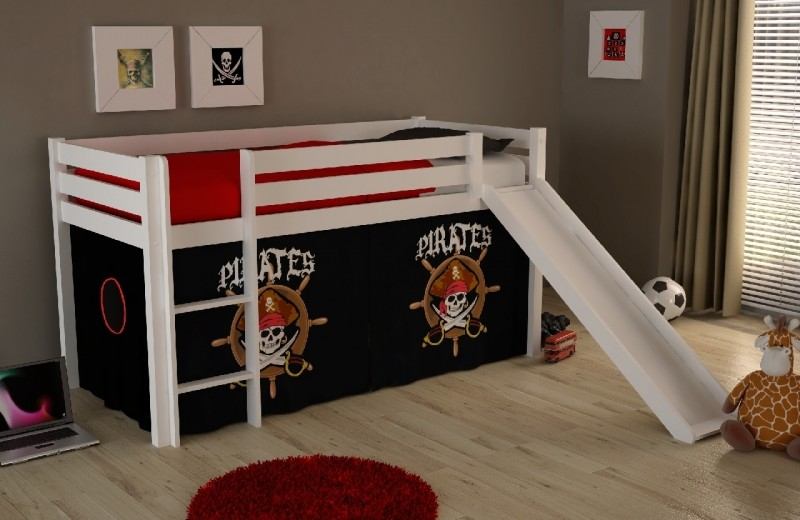 Pat etajat din lemn de pin, cu tobogan pentru copii Pino Pirates Alb, 200 x 90 cm