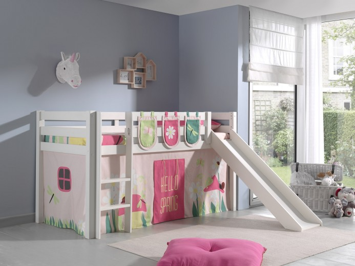 Pat etajat din lemn de pin, cu tobogan pentru copii Pino Plus Spring Alb, 200 x 90 cm