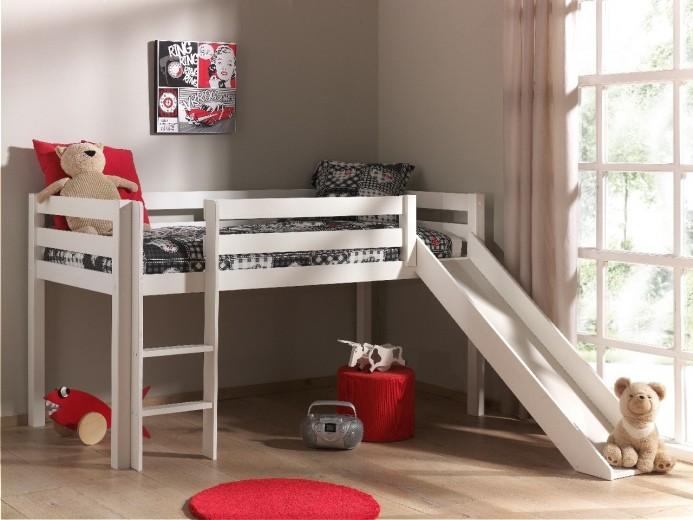 Pat etajat din lemn de pin, cu tobogan pentru copii Pino Simple Alb, 200 x 90 cm