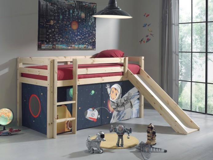 Pat etajat din lemn de pin, cu tobogan pentru copii Pino Space Natural, 200 x 90 cm