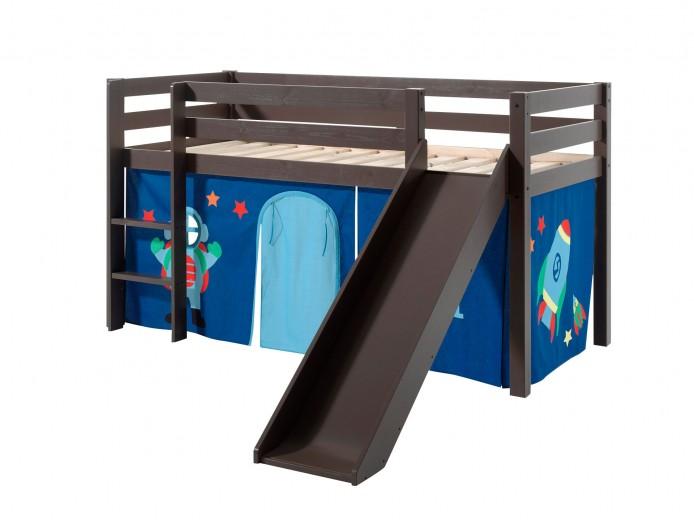 Pat etajat din lemn de pin, cu topogan pentru copii Pino Astro Grej, 200 x 90 cm