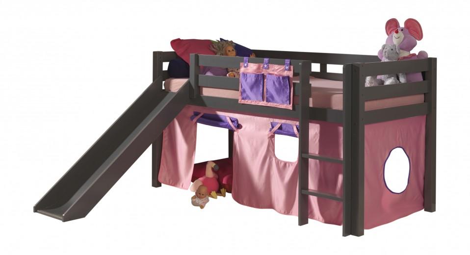 Pat etajat din lemn de pin, cu topogan pentru copii Pino Bella Pink Grej, 200 x 90 cm