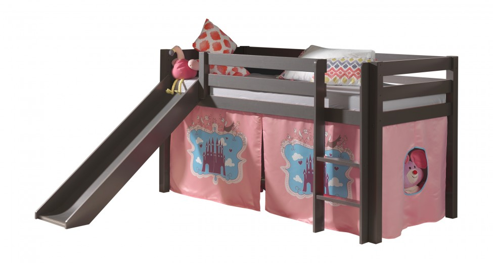 Pat etajat din lemn de pin, cu topogan pentru copii Pino Castle Grej, 200 x 90 cm