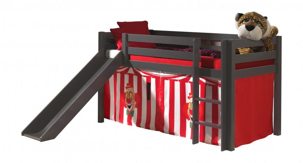 Pat etajat din lemn de pin, cu topogan pentru copii Pino Chucky Grej, 200 x 90 cm