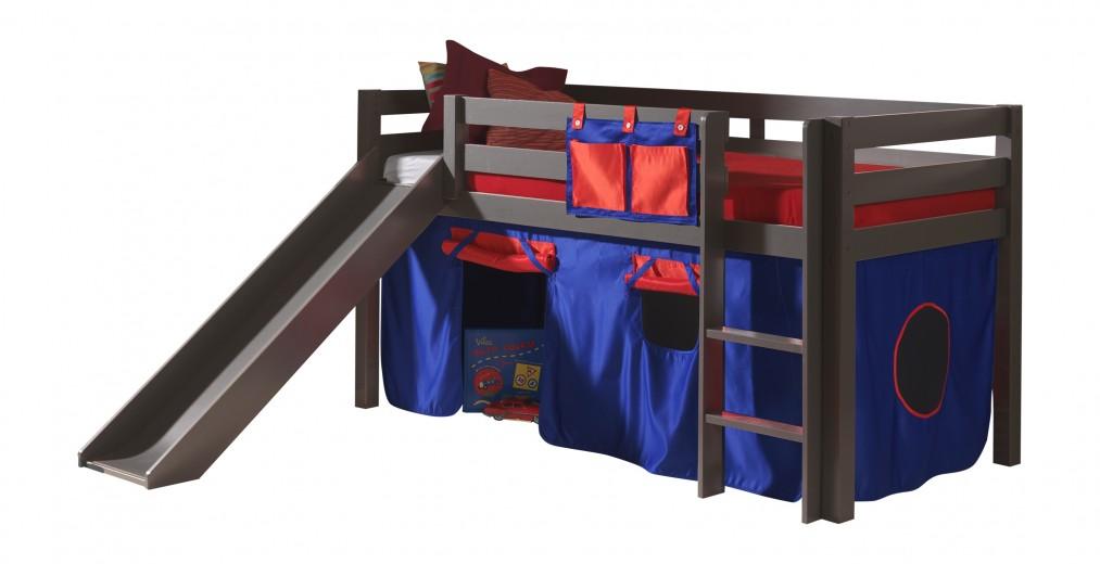 Pat etajat din lemn de pin, cu topogan pentru copii Pino Domino Grej, 200 x 90 cm