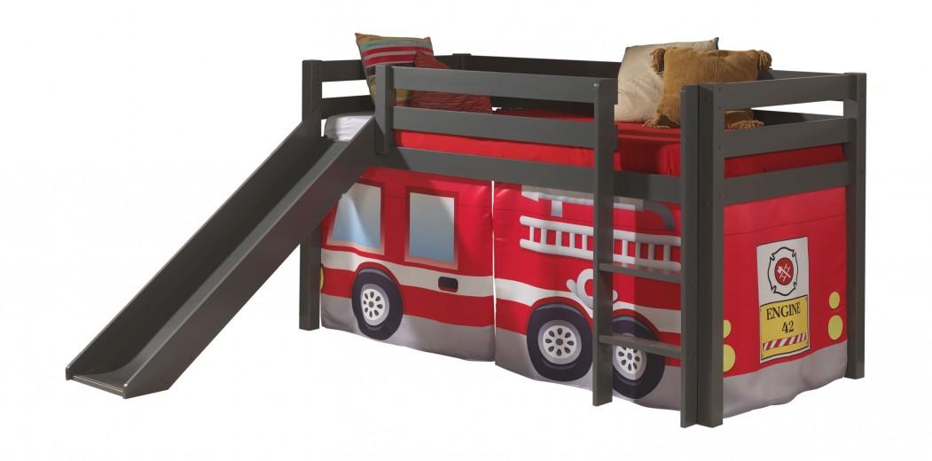 Pat etajat din lemn de pin, cu topogan pentru copii Pino Fire Rescue Grej, 200 x 90 cm